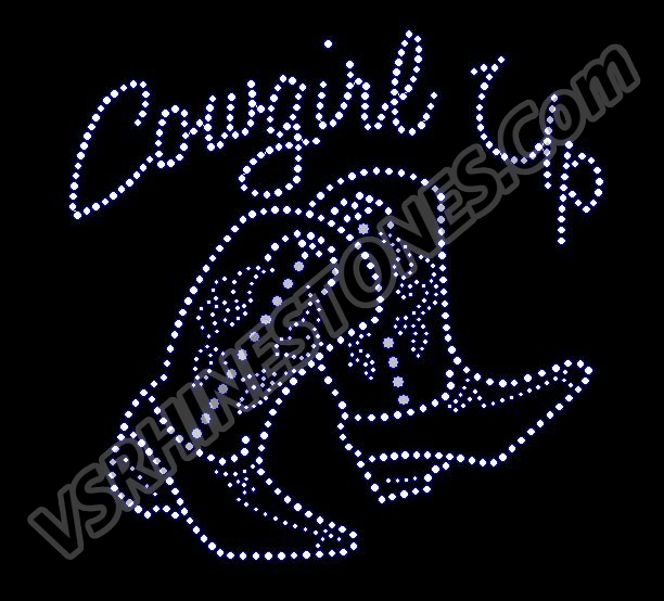 Cowgirl Up - Boots Rhinestone Transfer